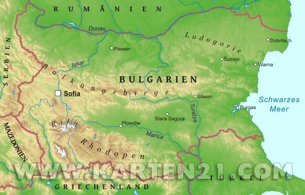 Karte Bulgarien.Bulgarien Physische Karte